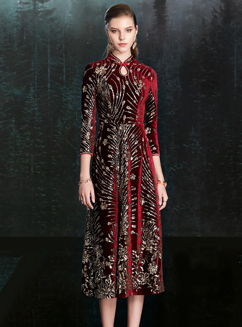 Find Your Dress For Prom! A-Line Burgundy Velvet High Neck 3/4 Sleeve Mother Of The Bride Dress