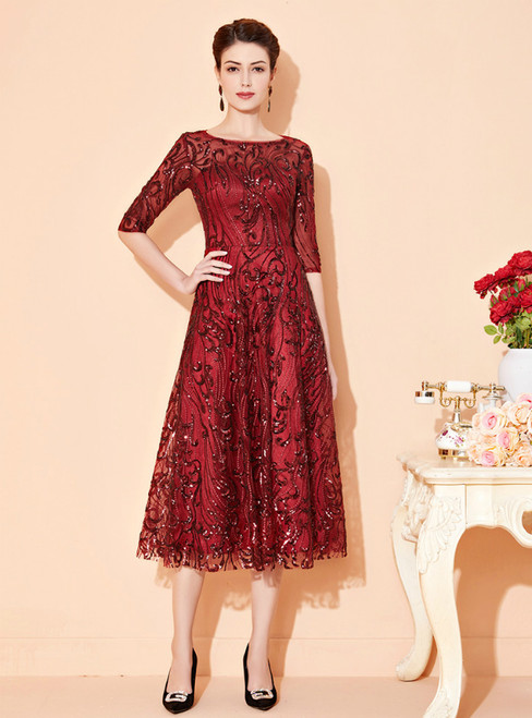Discover The Latest A-Line Burgundy Tulle Sequins Half Sleeve Tea Length Mother Of The Bride Dress