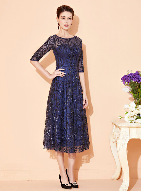 Purchase Your Favorite Navy Blue Tulle Sequins Half Sleeve Tea Length Mother Of The Bride Dress