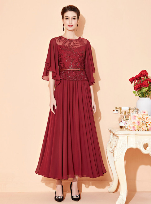We Provide A-Line Burgundy Chiffon Sequins Ankle Length Mother Of The Bride Dress