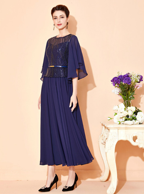 You Are Sure To Find The Perfect Navy Blue Chiffon Sequins Ankle Length Mother Of The Bride Dress
