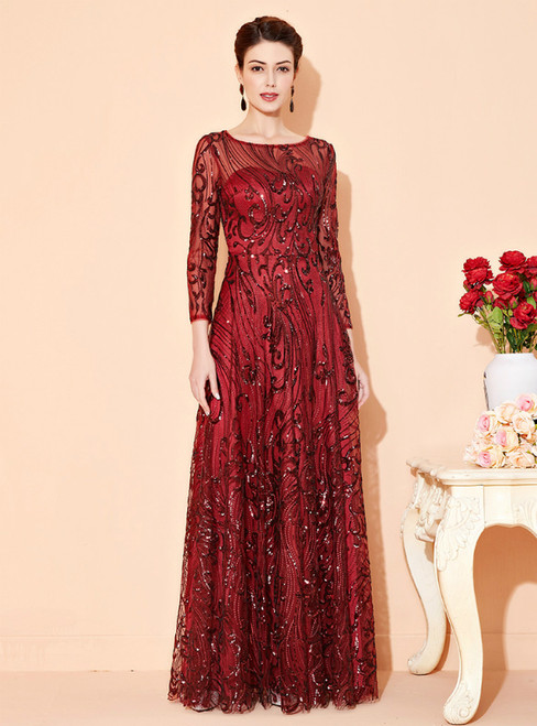 The Worldwide Shipping Online Store A-Line Burgundy Tulle Sequins 3/4 Sleeve Long Mother Of The Bride Dress