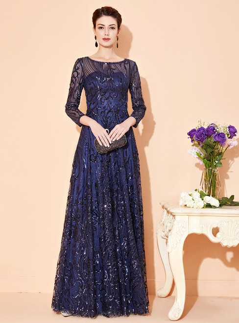 At Great Prices Navy Blue Tulle Sequins 3/4 Sleeve Long Mother Of The Bride Dress