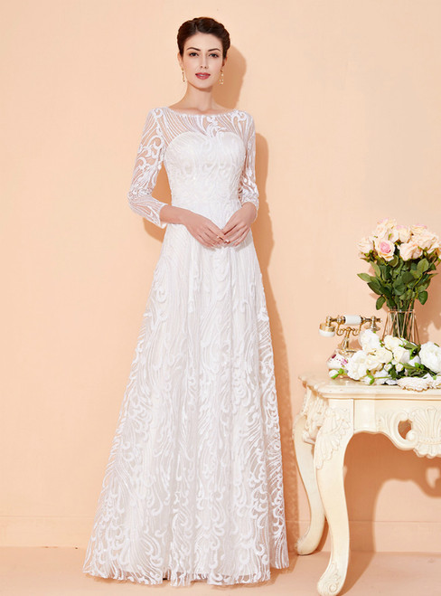 For Your Big Night White Tulle Sequins 3/4 Sleeve Long Mother Of The Bride Dress