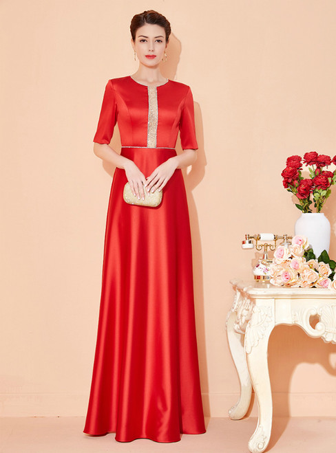 Available In Sizes 0-24 A-Line Red Satin Short Sleeve Beading Mother Of The Bride Dress