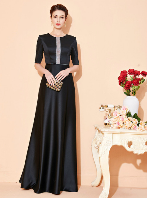 Come In All Styles And Colors Black Satin Short Sleeve Beading Mother Of The Bride Dress