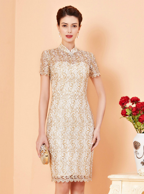 Find Your Dress For Prom! Champagne Sheath Lace Short Sleeve Short Mother Of The Bride Dress