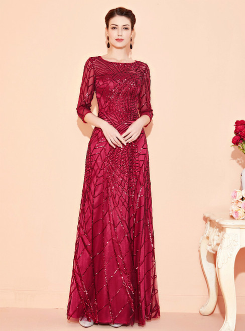 Best For You A-Line Burgundy Tulle Sequins 3/4 Sleeve Mother Of The Bride Dress