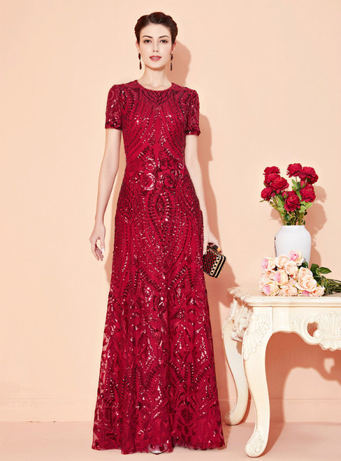 Is Now Available. A-Line Burgundy Sequins Short Sleeve Mother Of The Bride Dress