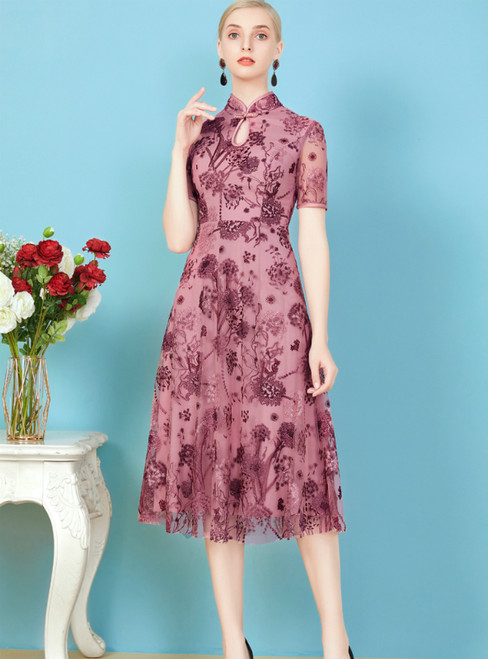 Check Out Entire Collection Pink Purple Tulle Embroidery Short Sleeve Mother Of The Bride Dress