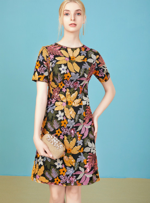 Get Your Discounts Colorful Sequins Flower Short Sleeve Short Mother Of The Bride Dress