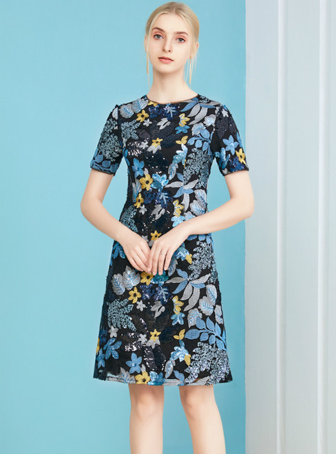 Make Your Prom a Dream Navy Blue Sequins Flower Short Sleeve Short Mother Of The Bride Dress