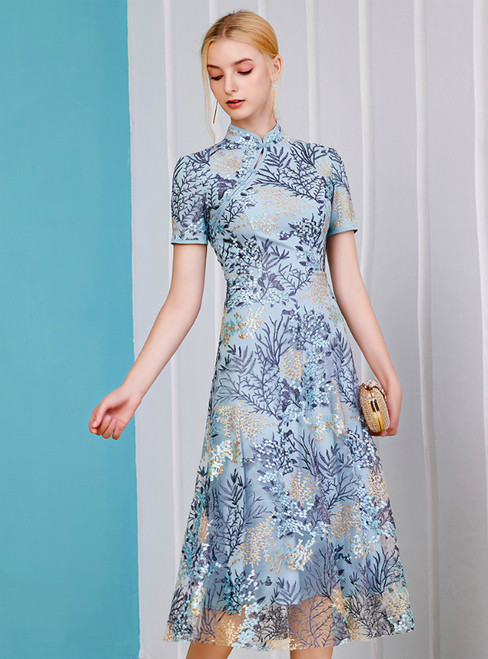 An Extra 40% Off Storewide A-Line Blue Tulle Embroidery Short Sleeve Mother Of The Bride Dress