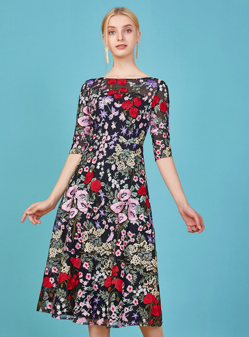To Choose From Colorful Embroidery Short Sleeve Knee Length Mother Of The Bride Dress