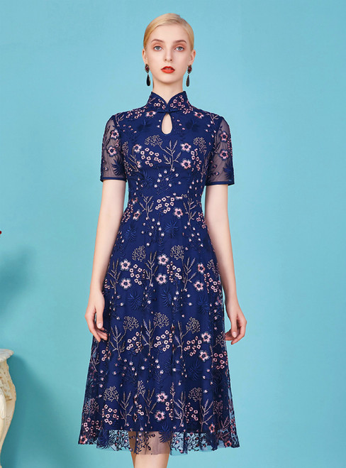 In One Step Navy Blue Embroidery Short Sleeve High Neck Mother Of The Bride Dress
