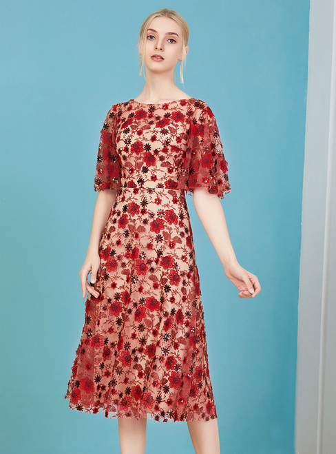 You'll Always Remember Wearing A-Line Red Lace Embroidery Short Sleeve Mother Of The Bride Dress
