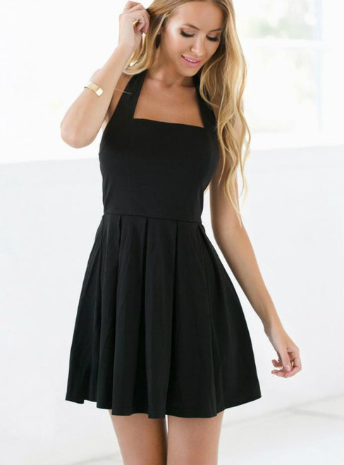 Simple Black Homecoming Dress Halter Homecoming Dresses Short Prom Dress