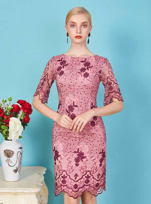 Just Be The One For You Pink Purple Lace Sheath Short Sleeve Mother Of The Bride Dress