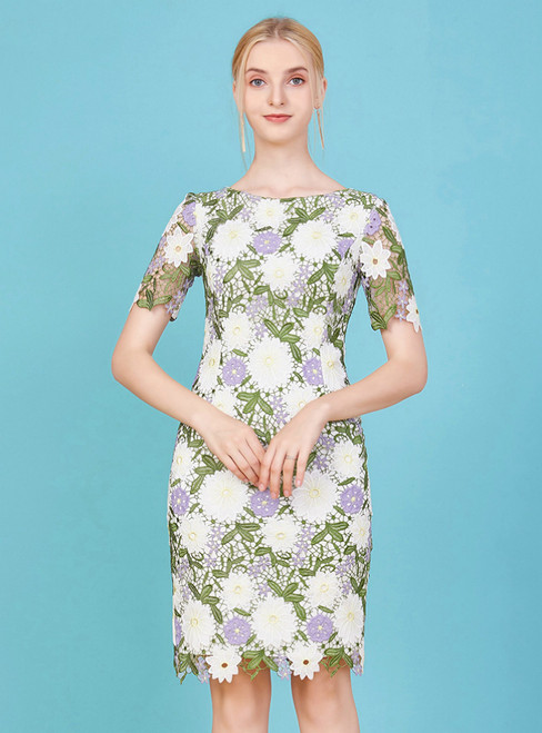 The Largest Variety Of Styles Sheath Lace Short Sleeve Knee Length Mother Of The Bride Dress