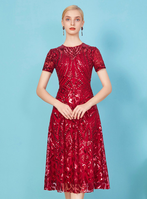 At Incredible Price A-Line Burgundy Sequins Short Sleeve Knee Length Mother Of The Bride Dress