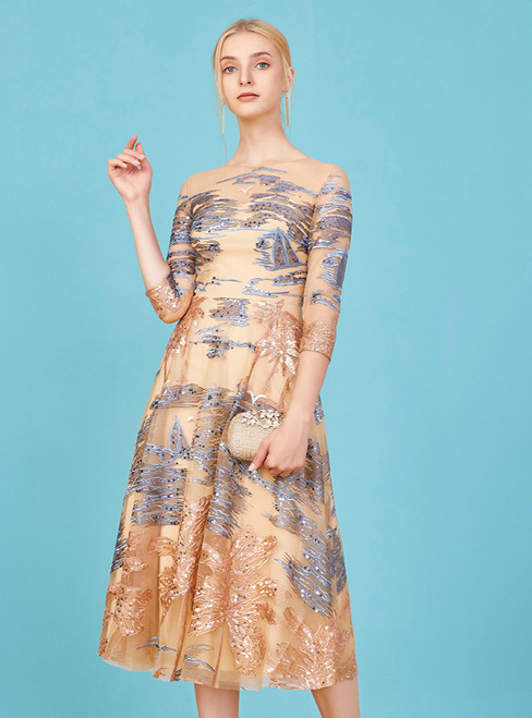 Fit Your Fashion Sense A-Line Champagne Tulle 3/4 Sleeve Embroidery Mother Of The Bride Dress