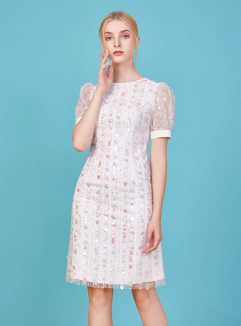 Come In a Wide Variety Of On-Trend Styles, A-Line White Tulle Short Sleeve Sequins Mother Of The Bride Dress