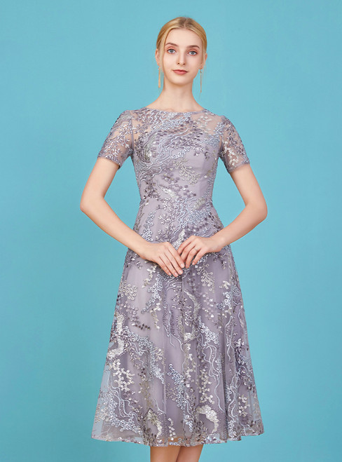 Will Be Available For Purchase A-Line Gray Tulle Embroidery Short Sleeve Mother Of The Bride Dress