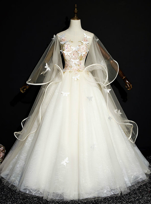 For You Next Prom Dance Light Champagne Ball Gown Tulle Butterfly Quinceanera Dress