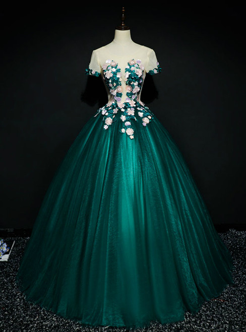 Wear a Classic Green Ball Gown Tulle Short Sleeve Appliques Quinceanera Dress