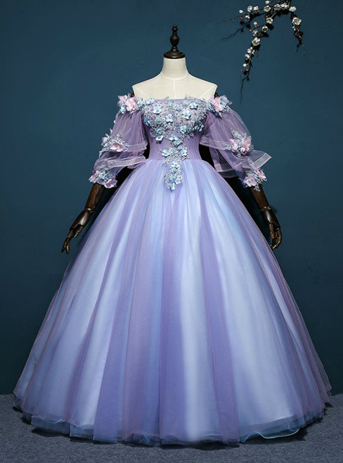 At Great Prices Purple Ball Gown Tulle Off the Shoulder Appliques Short Sleeve Quinceanera Dress