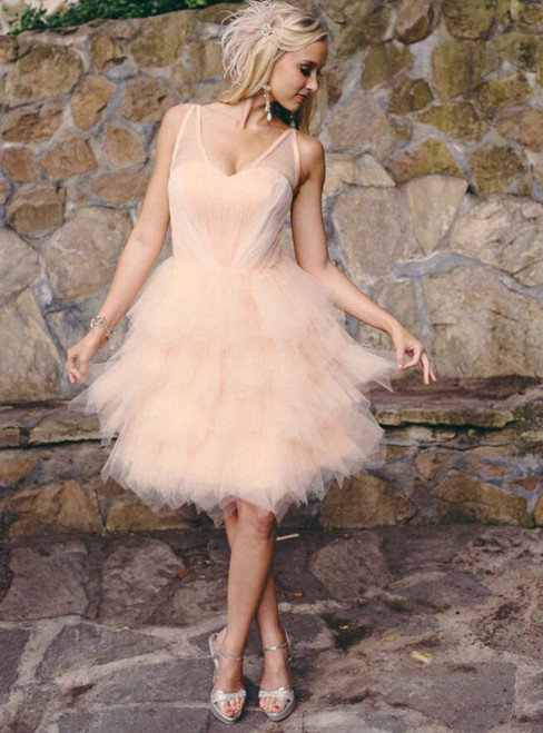 Stylish A-Line V-Neck Sleeveless Lace Up Tiered Tulle Short Homecoming Dress