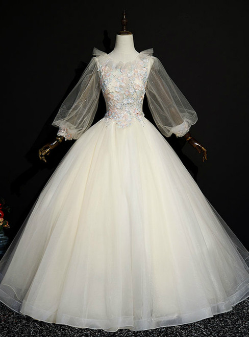 Find Your Dress For Prom! Champagne Ball Gown Tulle Long Sleeve Appliques Quinceanera Dress