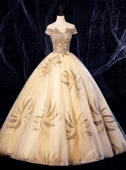 Best For You Champagne Gold Ball Gown Tulle Sequins Appliques Quinceanera Dress