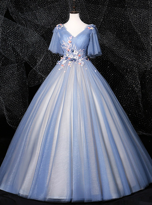 Is Now Available. Blue Ball Gown Tulle Appliques Pearls Pleats Quinceanera Dress