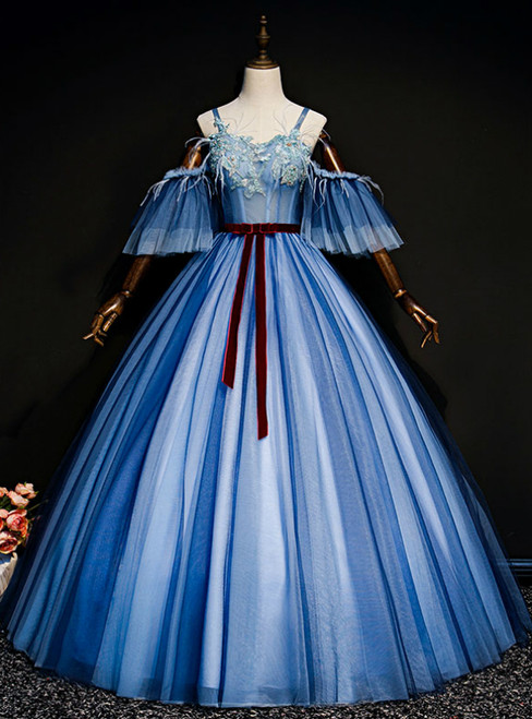 Check Out Entire Collection Blue Ball Gown Tulle Appliques Spagehtti Straps Quinceanera Dress