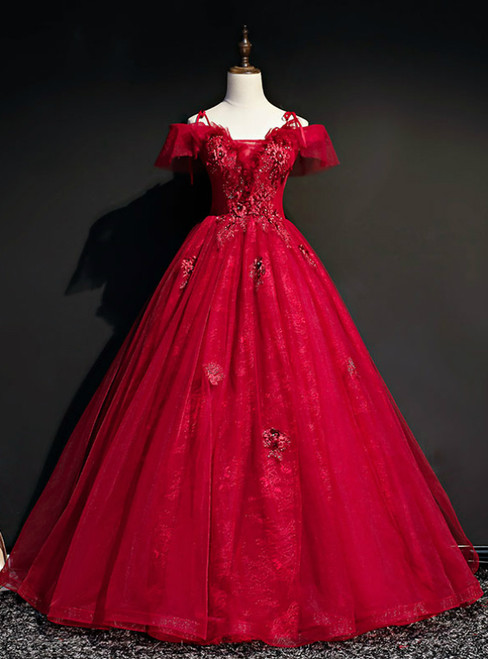 For This Year's Biggest Dance Dark Burgundy Ball Gown Tulle Spagehtti Straps Appliques Quinceanera Dress