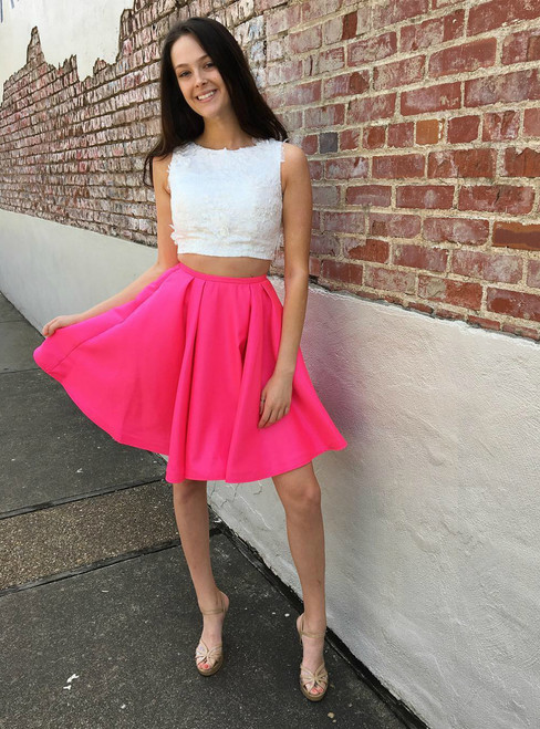 Fashion Two Piece A-Line Jewel Sleeveless Short Homecoming Dress With Lace