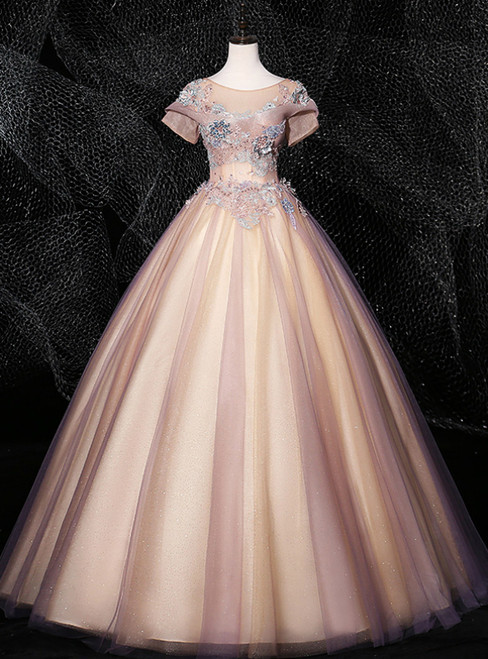 Discover The Latest Pink Ball Gown Tulle Short Sleeve Appliques Pearls Quinceanera Dress