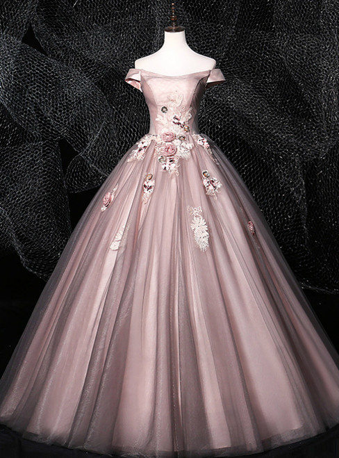 We Provide Pink Ball Gown Tulle Off the Shoulder Appliques Quinceanera Dress