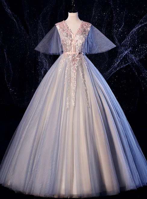 At Great Prices Blue Ball Gown Tulle Appliques V-neck Pearls Quinceanera Dress