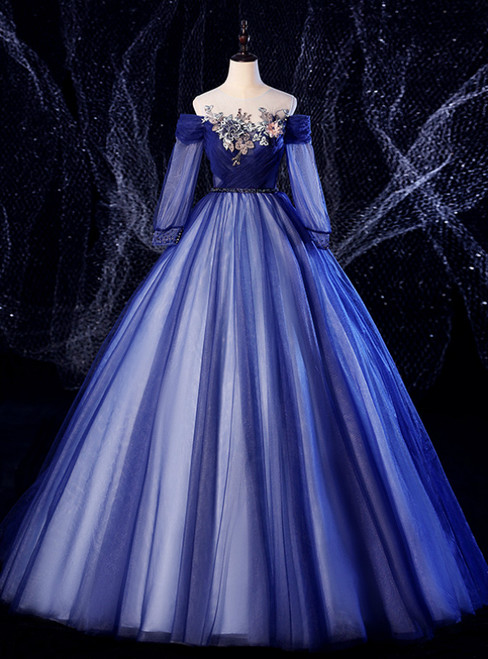For Your Big Night Navy Blue Ball Gown Tulle Long Sleeve Appliques Quinceanera Dress