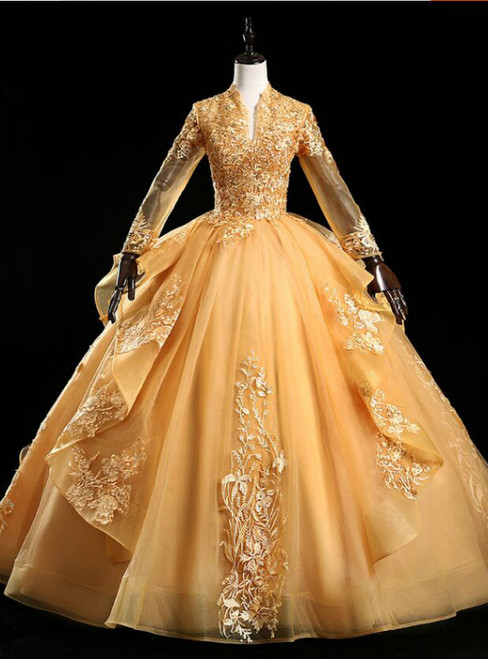 Available In Sizes 0-24 Gold Ball Gown Tulle Appliques Long Sleeve Backless Quinceanera Dress