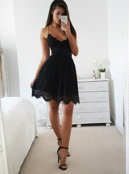 Sexy A-Line Spaghetti Straps Backless Black Short Homecoming Dress With Lace