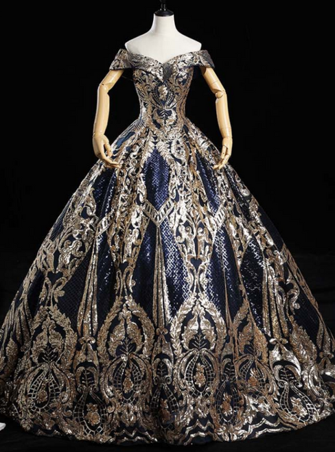 Is Now Available. Luxury Navy Blue Ball Gown Sequins Off the Shoulder Quinceanera Dress