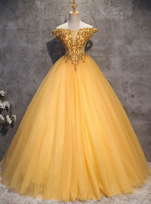 Make Your Prom a Dream Gold Ball Gown Tulle Off the Shoulder Beading Quinceanera Dress