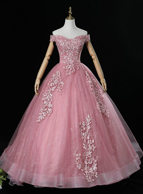 Discover The Latest Pink Ball Gown Tulle Appliques Off the Shoulder Pearls Quinceanera Dress