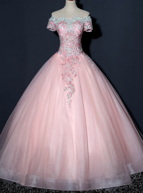 We Provide Pink Ball Gown Tulle Green Appliques Beading Short Sleeve Quinceanera Dress