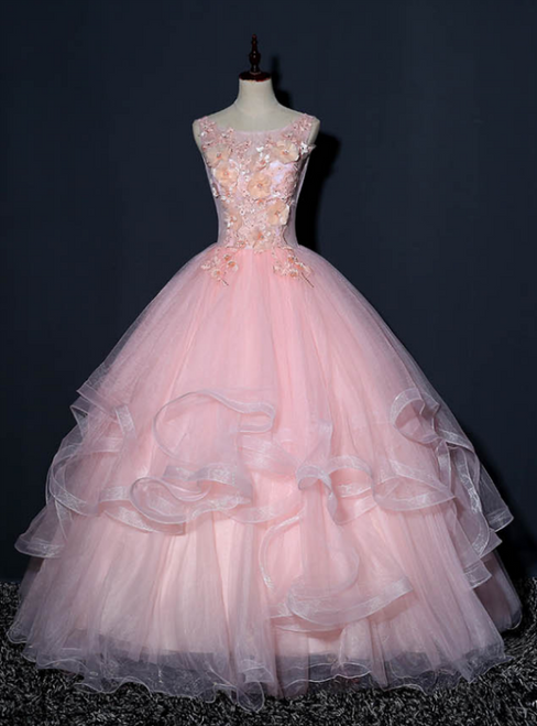 At Great Prices Pink Ball Gown Tulle Appliques Sleeveless Quinceanera Dress