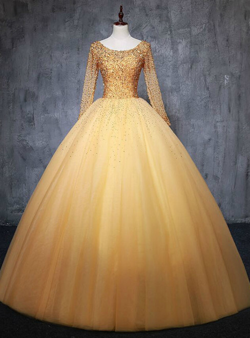 For Your Big Night Gold Ball Gown Tulle Long Sleeve Beading Sequins Quinceanera Dress