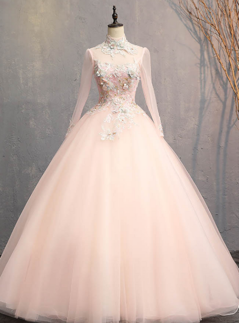 Find Your Dress For Prom! Pink Ball Gown Tulle Long Sleeve Backless Appliques Quinceanera Dress